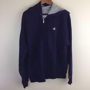 cchampion purple zip hoodie